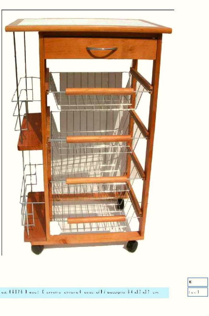 Carrello in legno portavivande da cucina su ruote in - Carrello portafrutta legno ...